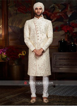 Cream Silk Fabric Sherwani