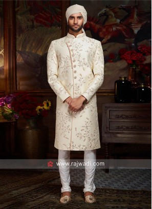 Cream Silk Fabric Sherwani