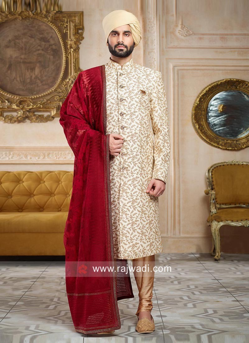 Designer Wedding Sherwani With Maroon Dupatta