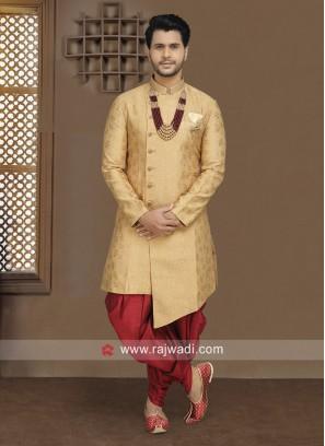 Golden Brocade Silk Indo Western