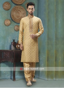 Golden Brocade Silk Kurta Pajama