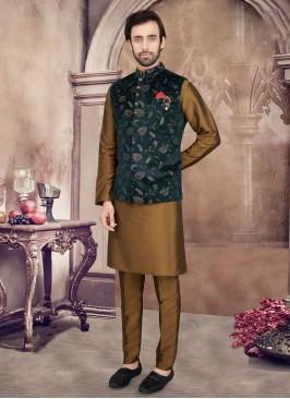 Golden Brown And Green Nehru Jacket Set