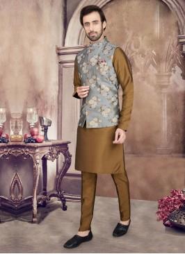 Golden Brown And Grey Color Nehru Jacket Set