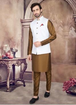 Golden Brown And White Color Nehru Jacket Set