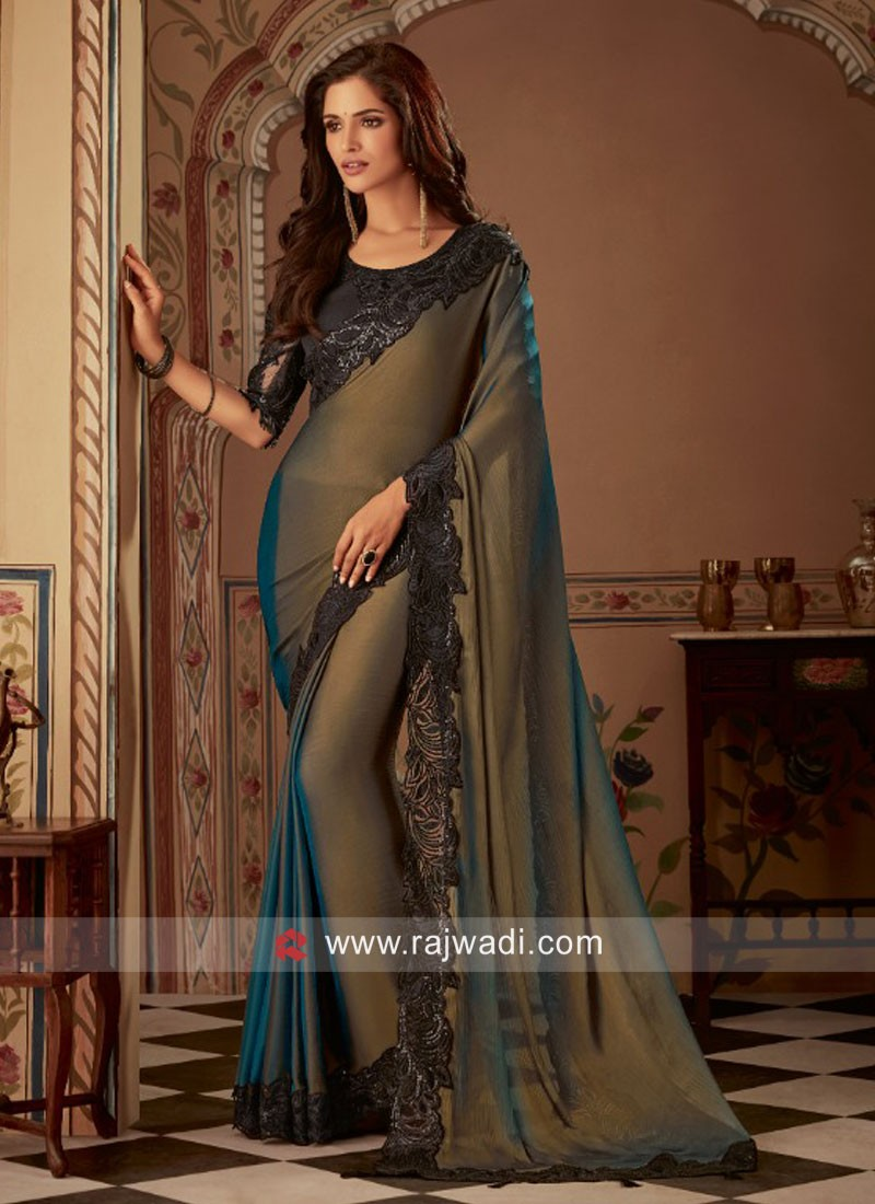 Golden Brown Bordar Work Saree with Embroidered Blouse