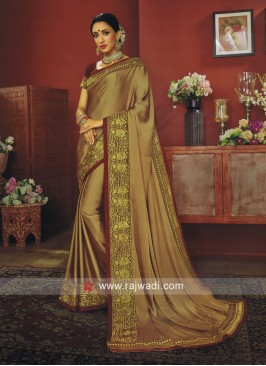 Golden Brown Border Work Saree