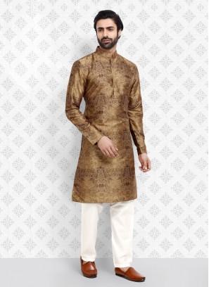 Golden Brown Color Art Silk Kurta Pajama