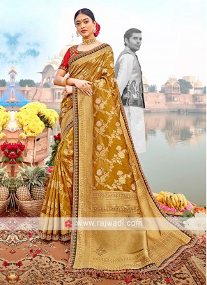 Golden Brown Color Banarasi Silk Saree