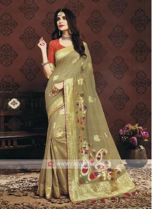 Golden Brown Color Banarasi Silk Saree