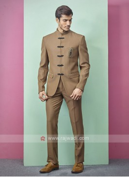 Golden Brown Color Jodhpuri Suit