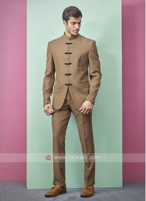 Golden Brown Color Jodhpuri Suit