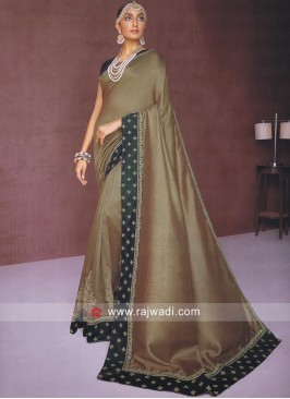 Golden Brown Cotton Silk Saree