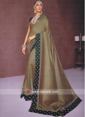 Golden Brown Cotton Silk Saree