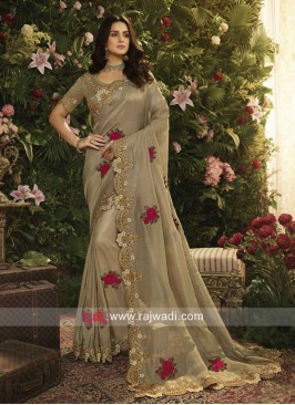 Golden Brown Flower Patch Saree
