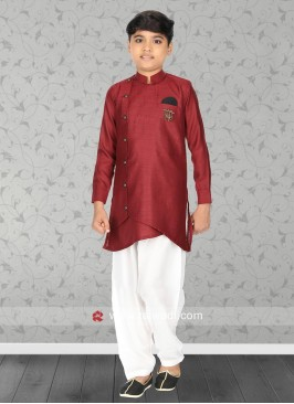 Linen Fabric Maroon Kurta Set
