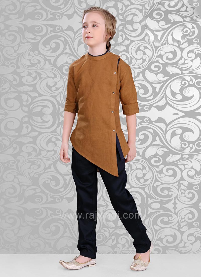 Golden Brown Layered Kurta Pajama