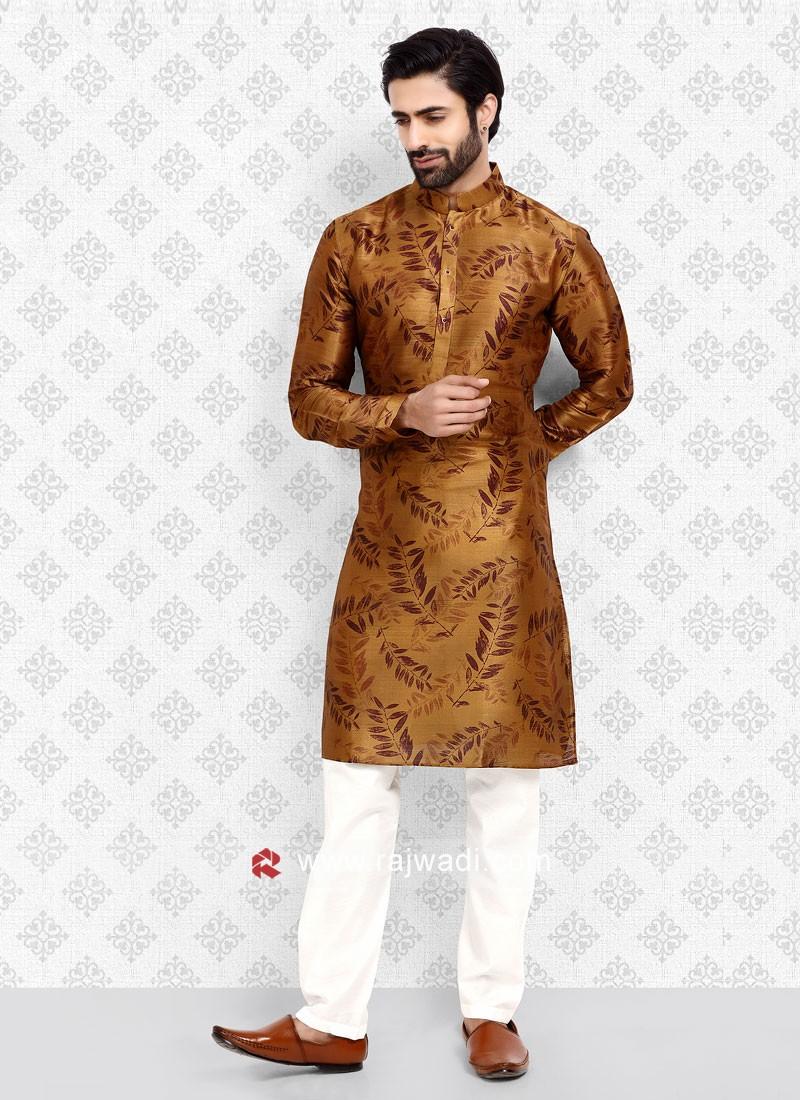 Golden Brown Printed Kurta Pajama