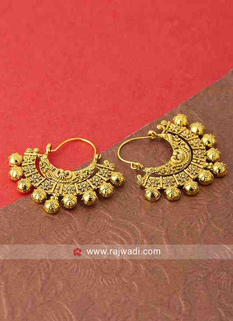 Golden Chandbali Wedding Earrings