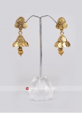 Golden Coin Jhumkha Earrings