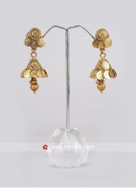 Golden Coin Jhumkha Earrings