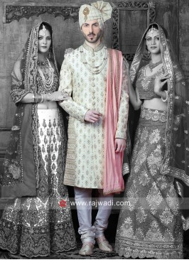 Stylish Golden Cream Indo Western