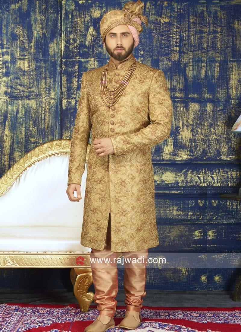 Golden Color Brocade Silk Sherwani