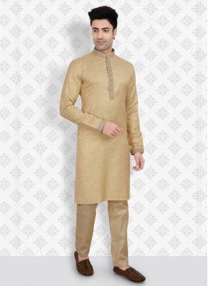 Golden Color Cotton Silk Kurta Pajama