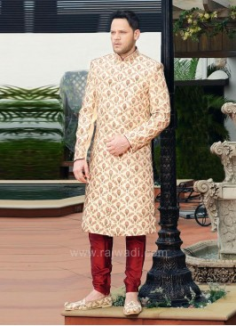 Golden Color Indo Western sherwani