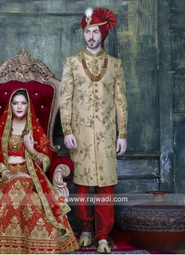 Golden Color indo Western Sherwani For Wedding