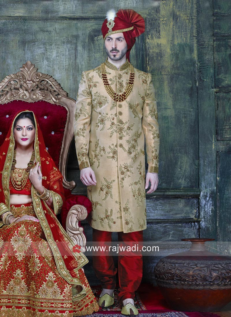 Golden Color indo Western Sherwani For Wedding