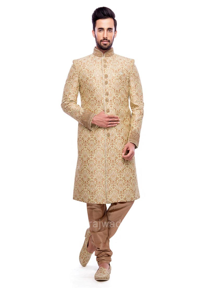 Golden Color Indo Western With Fancy Button