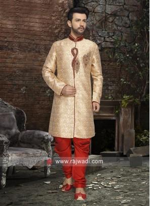 Golden Color Brocade Silk Zardozi Work Indo Western