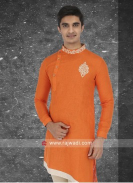 Orange Linen Fabric Kurta