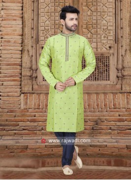 Stylish Pista Green Color Kurta Pajama