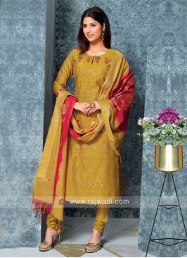 Golden Color Kurta with Churidar & Dupatta