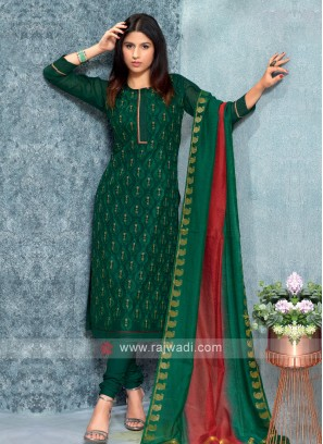 Green Color Kurta with Churidar & Dupatta