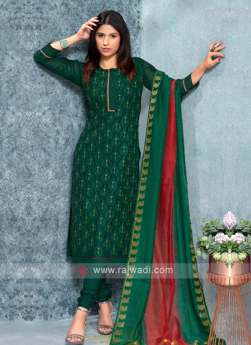 Green Color Kurta with Churidar & Dupatta