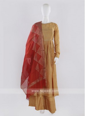 Golden color Palazzo Suit with dupatta