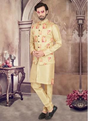 Golden Color Patch Work Nehru Jacket Set