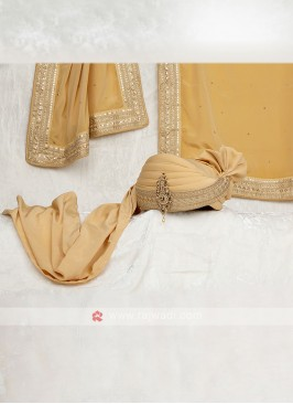 Golden Color Safa With Matching Dupatta For Groom