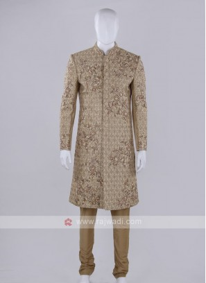 Golden color sherwani