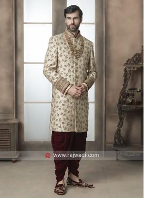 Golden Color Sherwani For Wedding
