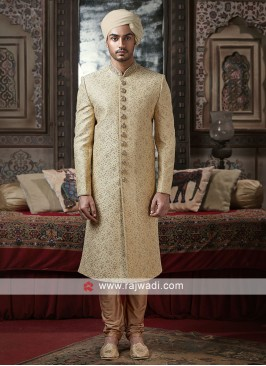 Golden Color Sherwani For Wedding