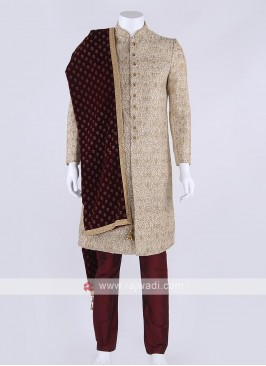 Golden color sherwani with dupatta