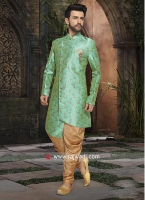 Teal Color Indo Western For Wedding