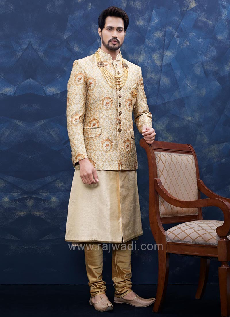 Golden Color Sherwani With Fancy Broach