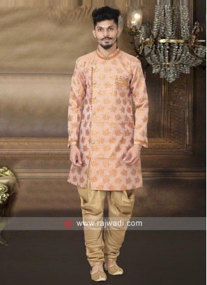 Light Pink Indo Western With Golden Patiala