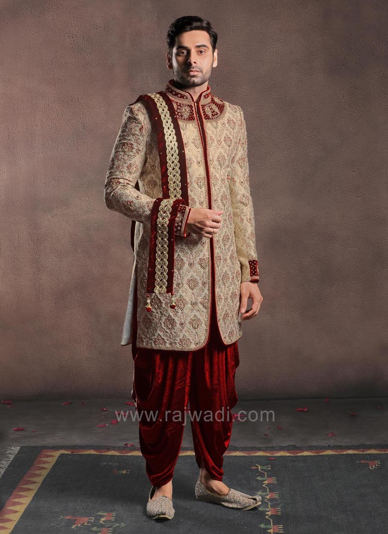 Golden Color Sherwani With Velvet Patiala