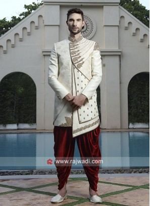 Off White Color Wedding Sherwani