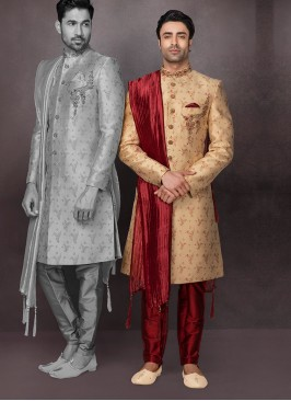Golden Color Wedding Sherwani